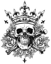 Graphic Human Skull With Cross...