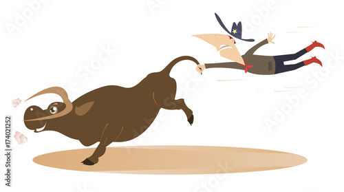 Deurstickers Stierenvechten Cartoon rodeo illustration with cowboy and bull. Man or cowboy catches a running bull by tail