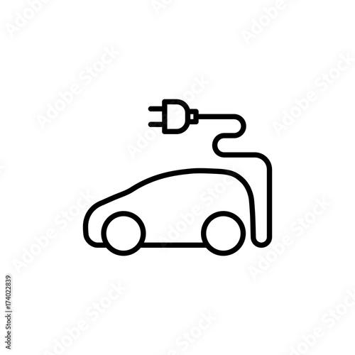 Thin Line Electric Car Icon Kaufen Sie Diese Vektorgrafik Und