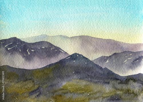 Keuken foto achterwand Lichtblauw watercolor mountain landscape