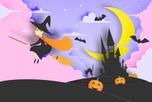 Witch On The Broom Paper Art S...