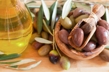 Olives On Wooden Background, K...