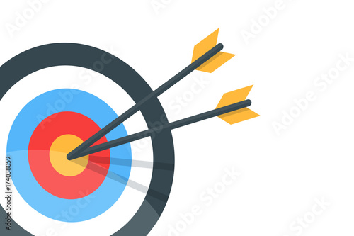 Fotografía  Horizontal banner with the image of an arrow and a target