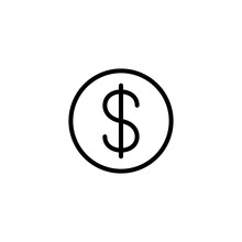 Dollar Coin Sign Line Black Icon