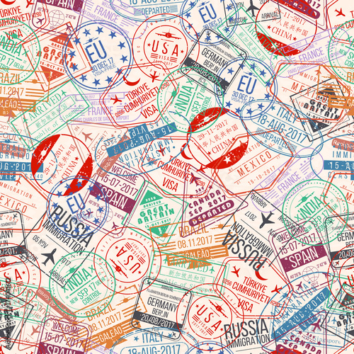 Fotografie, Obraz  Passport stamp seamless pattern