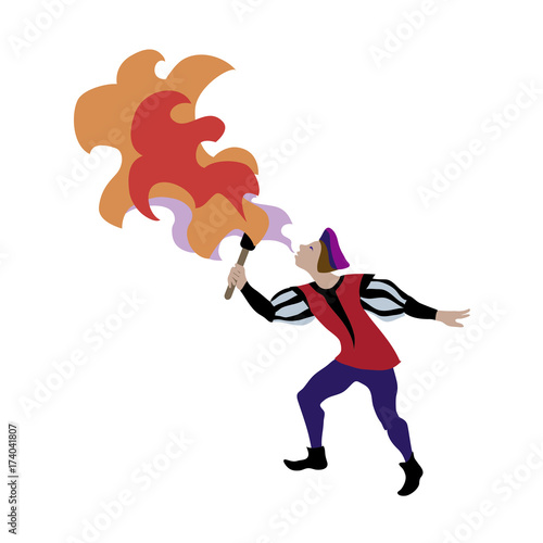 Medieval cartoon character of fire-breather in european middle ages or medieval period historic period persons Fototapete
