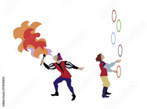 Medieval Cartoon Characters Of Juggler And Fire Breather In European