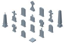 Set Of Gravestones Isolated On White Background. Isometric Vector Illustration