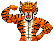 Angry Strong Tiger Mascot. Vector Illustration