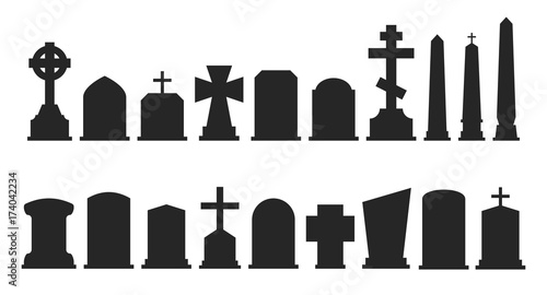 Leinwand Poster Set of gravestone silhouettes isolated on white background