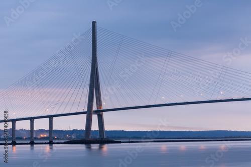 In de dag Brug Sunrise near Pont de Normandie, Seine bridge in France