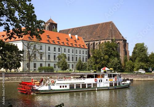 Obraz na dibondzie (fotoboard) Nabrzeże rzeki Odry we Wrocławiu. Polska