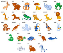 Cute Zoo Alphabet With Cartoon Animals From A To Z Vector Illustration Isolated On Background, Education For Children, Preschool, ABC Poster For Learn To Read, Character Design Funny Cat, Antelope Etc