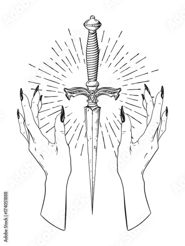 Ritual dagger in female hands with rays of light isolated on white background hand drawn vector illustration. Black work, flash tattoo or print design