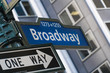 Broadway street sign in New York City, Manhattan. Famous avenue and one way street through Times Square NYC