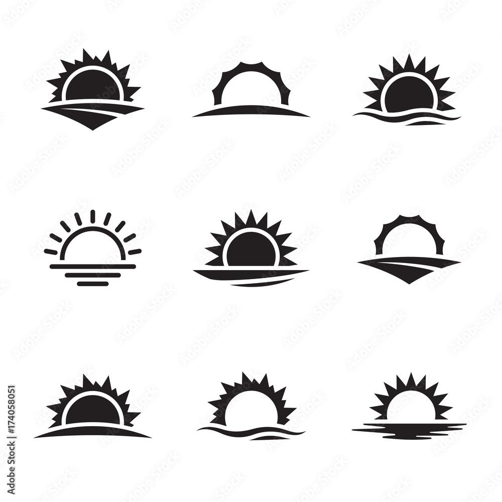 Fototapety, obrazy: Vector black sunrise icon set