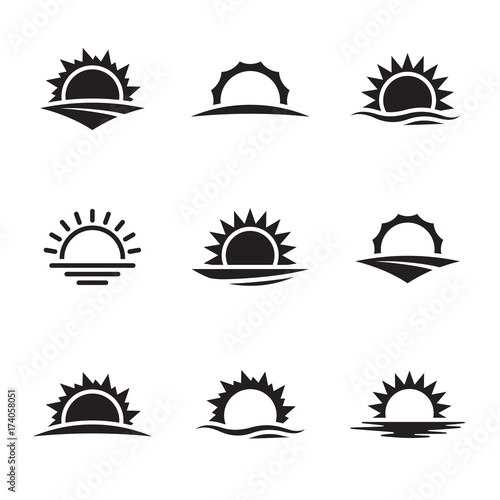 Obraz Vector black sunrise icon set - fototapety do salonu