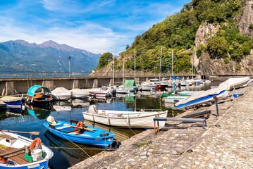 Fototapeta na wymiar Tourist harbor Gabella on Lake Maggiore in Maccagno, Italy