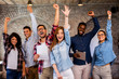 canvas print picture - Group of young businesspeople celebrating success