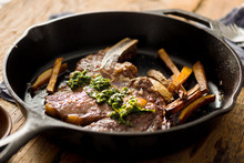 Steak Frites: Ribeye Steak With Chimichurri Sauce And Fries