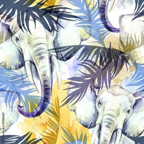 watercolor-exotic-seamless-pattern-elephants-with-colorful-tropical-leaves-african-animals-background-wildlife-art-illustration-can-be-printed-on-t-shirts-bags-posters-invitations-card
