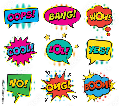 Retro colorful comic speech bubbles set with halftone shadows on white background. Expression text BANG, YES, NO, LOL, BANG, BOOM, COOL, OMG, WOW, OOPS. Vector illustration, pop art style.