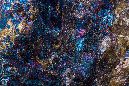 Blue and purple psychedelic looking rock, microscopic mineral texture Wallpaper Mural