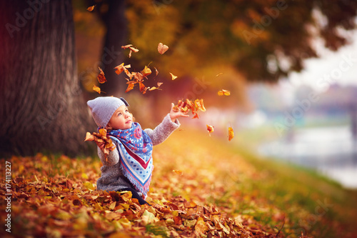 obraz PCV adorable happy girl throwing the fallen leaves up, playing in the autumn park