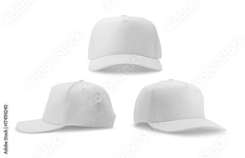 Carta da parati  White baseball cap isolated on white background.