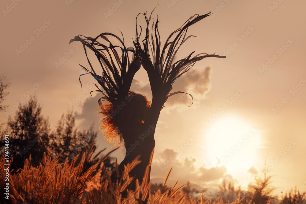 Fototapety, obrazy: beautiful woman silhouette. wings and freedom concept