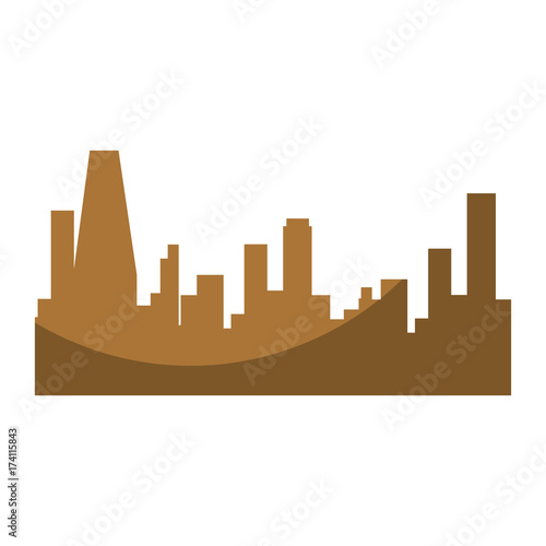 silhouette of city buildings icon Canvas