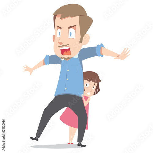 Father Protect His Daughter Buy This Stock Illustration And