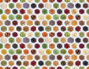 Fototapeta Seamless texture with spices and herbs over white background