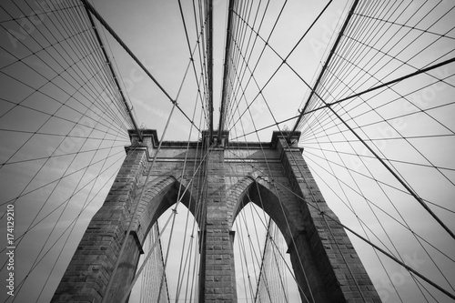 Close Up View of Brooklyn Bridge in Manhattan, New York City
