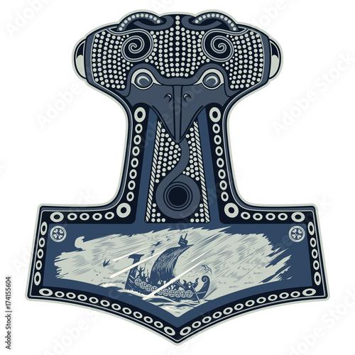 Thor's hammer - Mjollnir and the Scandinavian ornament Wallpaper Mural