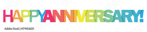 "Photo ""HAPPY ANNIVERSARY"" Colourful Vector Letters Icon"