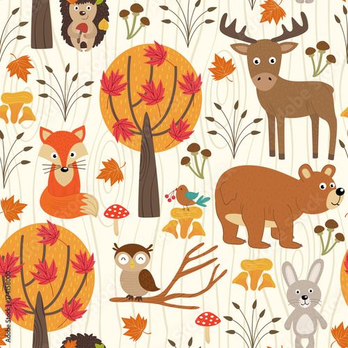 Fototapety, obrazy: seamless pattern with autumn forest - vector illustration, eps