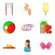 Babycare product icons set, cartoon style