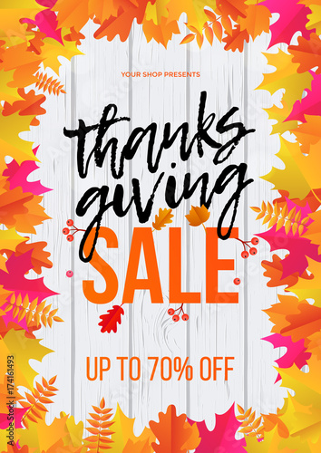Thanksgiving Autumn Shop Sale Web Banner Or Store Promo Discount Poster Design Template Vector Maple Leaf For Fall Shopping Or Autumnal 70 Percent Thanksgiving Sale Calligraphy Background Buy This Stock Vector