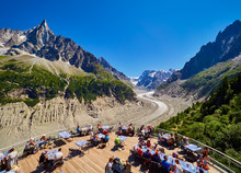 View Over Glacier Mer De Glace From Terrace, Chamonix France