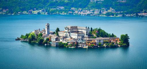The island of San Giulio by the Italian lake - lago d'Orta, Piemonte, Italy.