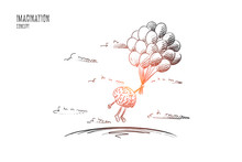 Imagination Concept. Hand Drawn Brains Flying With Balloons. Flying Brains As Symbol Of Imagination Isolated Vector Illustration.