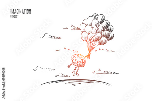 Obraz Imagination concept. Hand drawn brains flying with balloons. Flying brains as symbol of imagination isolated vector illustration. - fototapety do salonu