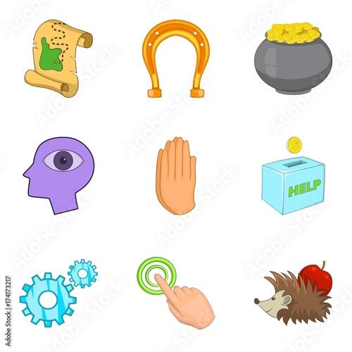 Photo Benefaction icons set, cartoon style