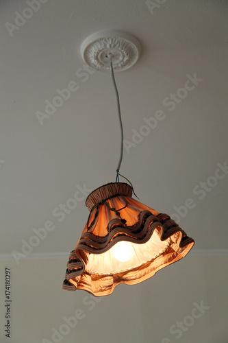 50er Jahre Lampe Mit Stuck An Der Decke Buy This Stock Photo And
