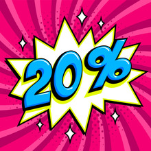 Purple Sale Web Banner. Sale Twenty Percent 20 Off On A Comics Pop-art Style Bang Shape On Pink Twisted Background. Big Sale Background. Pop Art Comic Sale Discount Promotion Banner. Seasonal