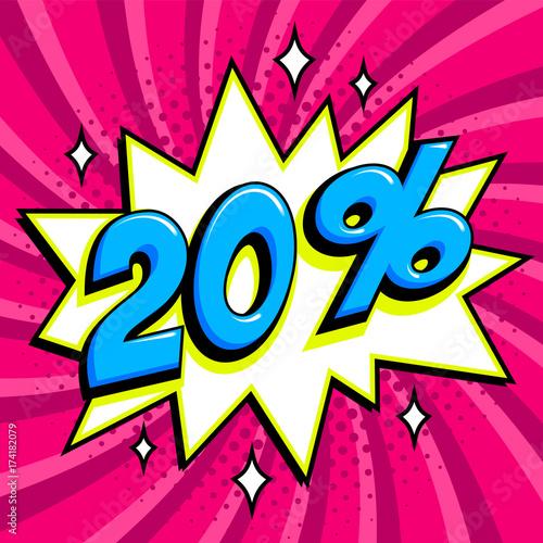 Foto auf AluDibond Graffiti Purple sale web banner. Sale twenty percent 20 off on a Comics pop-art style bang shape on pink twisted background. Big sale background. Pop art comic sale discount promotion banner. Seasonal