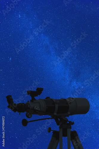 Silhouette of a telescope with starry background.