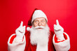 Discount, marketing, sales, advertisement, presents, gifts selling time! Holly jolly x mas is soon! Be ready, prepare! Saint nicholas is showing up with forefingers, isolated on red background