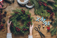 Christmas Wreath With Word Xmas